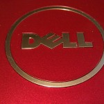 Dell logo on red background