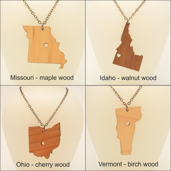 Necklaces with state-shaped pendants
